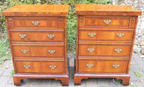 Pair Yew Storage Cabinet Cupboards